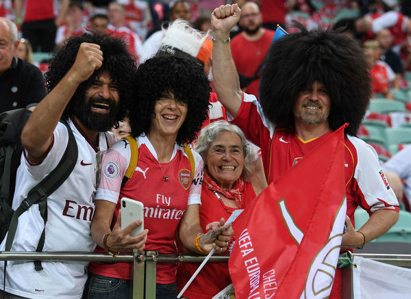 BAKU, AZERBAIJAN - MAY 29: Arsenal fans before the UEFA Europa League Final between Chelsea and Arsenal at Baku Olimpiya Stadionu on May 29, 2019 in Baku, Azerbaijan. (Photo by David Price/Arsenal FC via Getty Images)
