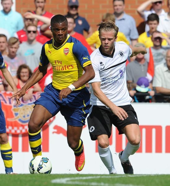 Chuba Akpom (Arsenal) Ben Nunn (Boreham Wood). Boreham Wood 0:2 Arsenal. Pre Season Friendly