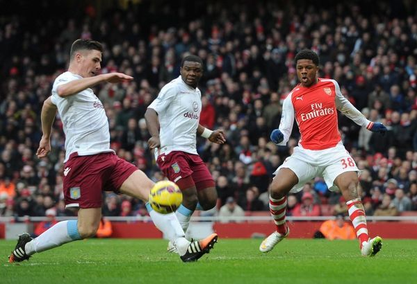 Chuba Akpom (Arsenal) Ciaran Clark (Villa). Arsenal 5:0 Aston Villa. Barclays Premier League. Emirates Stadium, 1/2/15. Credit : Arsenal Football Club / David Price