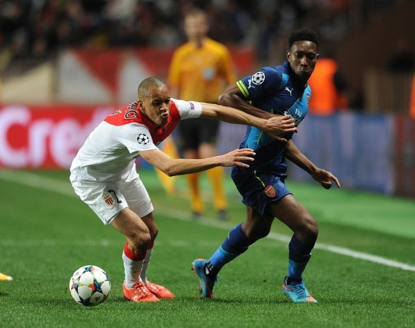 Danny Welbeck (Arsenal) Fabinho (Monaco). AS Monaco 0:2 Arsenal. UEFA Champions League. Round of 16, 2nd Leg. Stade Louis II. Monaco, 17/3/15. Credit : Arsenal Football Club / David Price