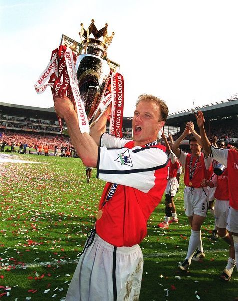 Dennis Bergkamp with the F.A.Barclaycard Premiership Trophy