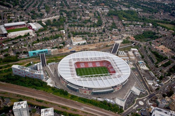 emirates stadium photographed helicopter match