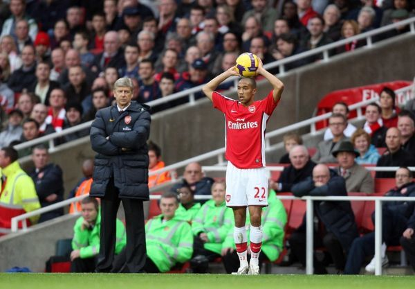 Gael Clichy (Arsenal) and Arsene Wenger the Arsenal Manager