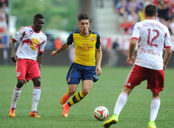 Hector Bellerin (Arsenal) Ambroise Oyongo and Eric Alexander (Red Bulls). New York Red Bulls 1:0 Arsenal. Pre Season Friendly. Red Bulls Arena. Harrison, New Jersey, 26/7/14. Credit : Arsenal Football Club / David Price