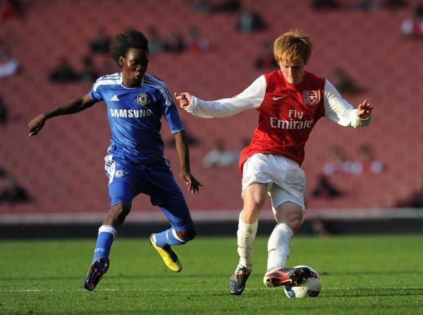 James Campbell (Arsenal) Bertrand Traore (Chelsea). Arsenal U18 1:0 Chelsea U18
