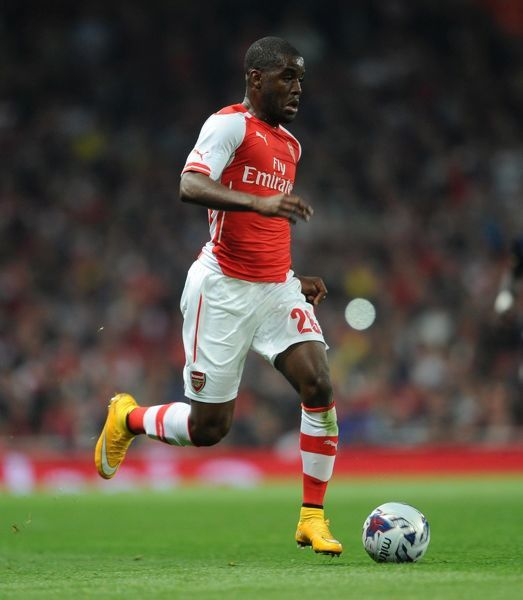 Joel Campbell (Arsenal). Arsenal 1:2 Southampton. Capital One Cup. 3rd Round. Emirates Stadium