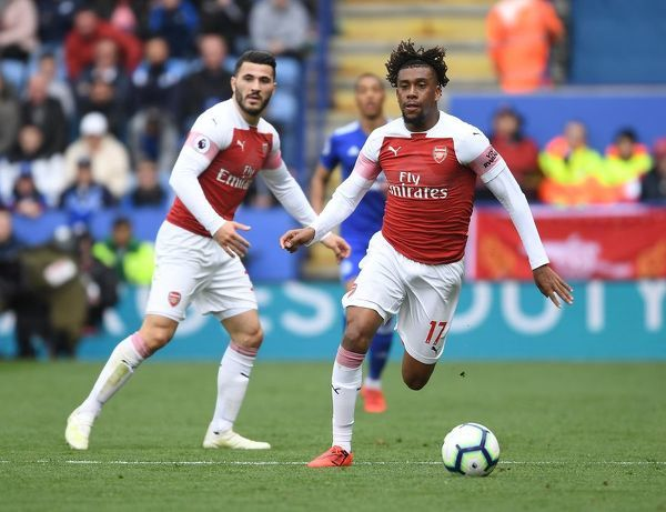 LEICESTER, ENGLAND - APRIL 28: Alex Iwobi of Arsenal during the Premier League match between Leicester City and Arsenal FC at The King Power Stadium on April 28, 2019 in Leicester, United Kingdom