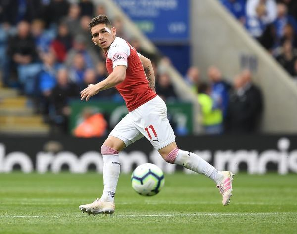 LEICESTER, ENGLAND - APRIL 28: Lucas Torreira of Arsenal during the Premier League match between Leicester City and Arsenal FC at The King Power Stadium on April 28, 2019 in Leicester, United Kingdom