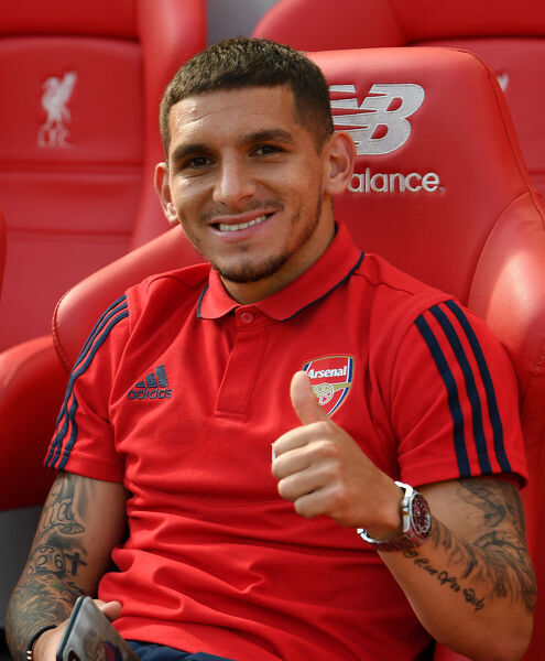 LIVERPOOL, ENGLAND - AUGUST 24: Lucas Torreira of Arsenal before the Premier League match between Liverpool FC and Arsenal FC at Anfield on August 24, 2019 in Liverpool, United Kingdom. (Photo by David Price/Arsenal FC via Getty Images)