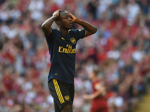 LIVERPOOL, ENGLAND - AUGUST 24: Nicolas Pepe of Arsenal during the Premier League match between Liverpool FC and Arsenal FC at Anfield on August 24, 2019 in Liverpool, United Kingdom. (Photo by David Price/Arsenal FC via Getty Images)