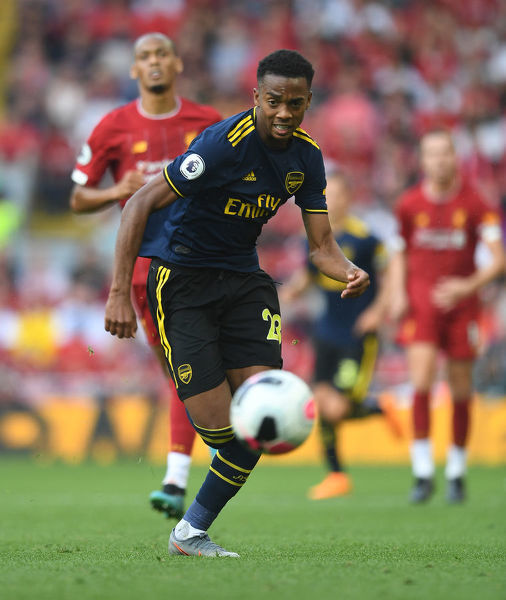 LIVERPOOL, ENGLAND - AUGUST 24: Joe Willock of Arsenal during the Premier League match between Liverpool FC and Arsenal FC at Anfield on August 24, 2019 in Liverpool, United Kingdom. (Photo by David Price/Arsenal FC via Getty Images)