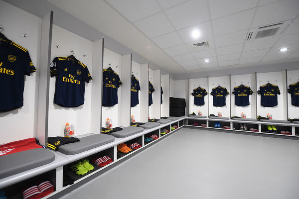 LIVERPOOL, ENGLAND - AUGUST 24: The Arsenal changing room before the Premier League match between Liverpool FC and Arsenal FC at Anfield on August 24, 2019 in Liverpool, United Kingdom. (Photo by Stuart MacFarlane/Arsenal FC via Getty Images)