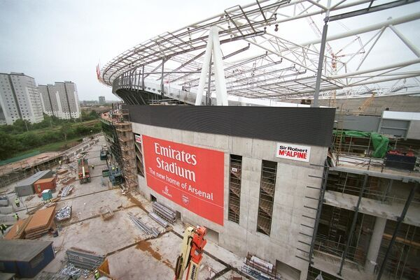new arsenal stadium photographed cradle suspended