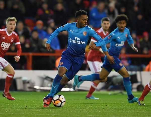 NOTTINGHAM, ENGLAND - JANUARY 07: Joe Willock of Arsenal during the FA Cup 3rd Round match between Nottingham Forest and Arsenal at City Ground on January 7, 2018 in Nottingham, England
