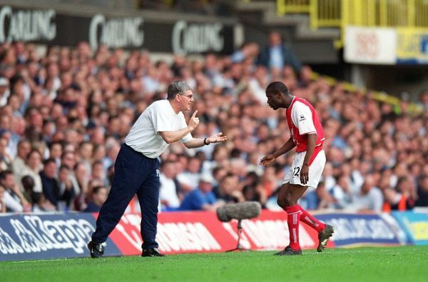 Pat Rice give Lauren instructions during the match. Tottenham Hotsour v Arsenal