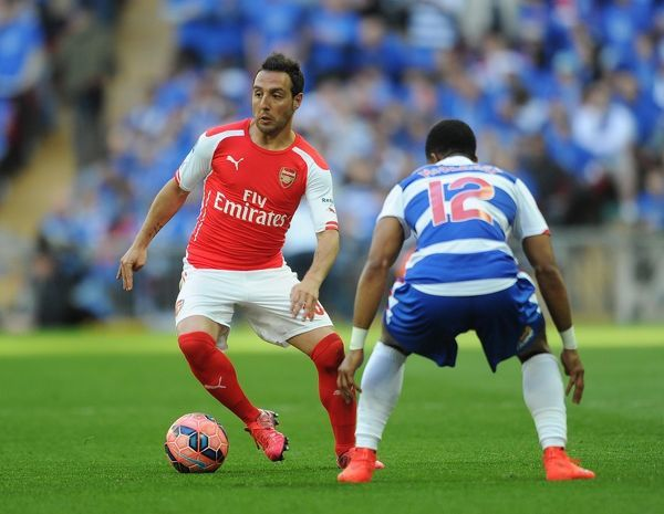 Santi Cazorla (Arsenal) Gareth McCleary (Reading). Arsenal 2:1 Reading, after extra time
