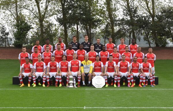 Back row (left to right) Serge Gnabry, Gedion Zelalem, Chuba Akpom, Emiliano Martinez, Wojciech Szczesny, David Ospina, Isaac Hayden, Nacho Monreal, Joel Campbell. Middle row (left to right) Mathieu Debuchy, Francis Coquelin, Aaron Ramsey