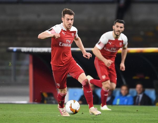 NAPLES, ITALY - APRIL 18: Aaron Ramsey of Arsenal during the UEFA Europa League Quarter Final Second Leg match between S