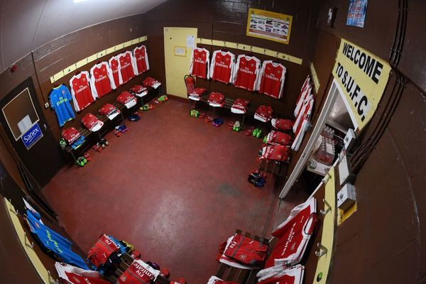 SUTTON, GREATER LONDON - FEBRUARY 20: The Arsenal changing room before the Emirates FA Cup Fifth Round match between Sutton United and Arsenal on February 20, 2017 in Sutton, Greater London. (Photo by Stuart MacFarlane/Arsenal FC via Getty Images)