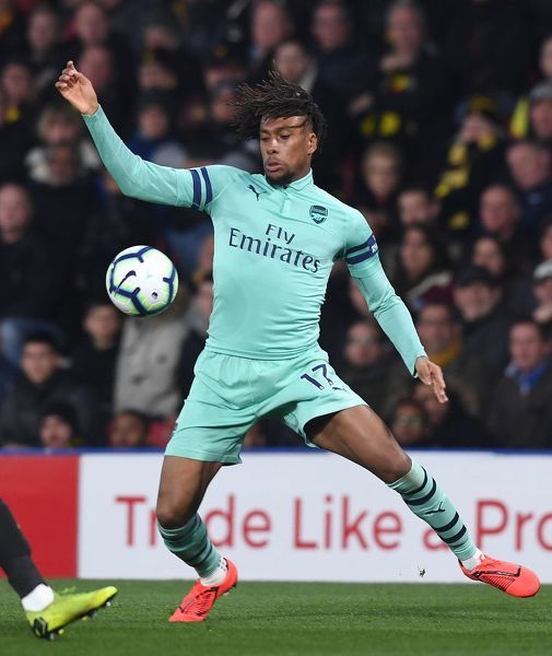 WATFORD, ENGLAND - APRIL 15: Alex Iwobi of Arsenal during the Premier League match between Watford FC and Arsenal FC at Vicarage Road on April 15, 2019 in Watford, United Kingdom. (Photo by Stuart MacFarlane/Arsenal FC via Getty Images)