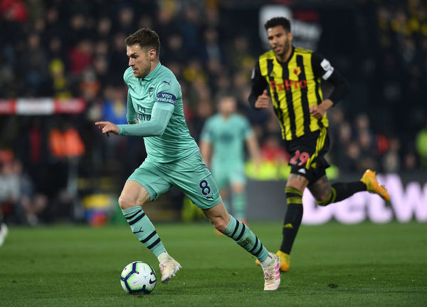 WATFORD, ENGLAND - APRIL 15: Aaron Ramsey of Arsenal during the Premier League match between Watford FC and Arsenal FC at Vicarage Road on April 15, 2019 in Watford, United Kingdom. (Photo by David Price/Arsenal FC via Getty Images)