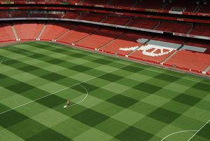 the 1st marking out of the new pitch emirates stadium