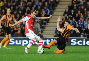 season 2014 15/hull city v arsenal 2014 15/aaron ramsey scores arsenals 2nd goal pressure