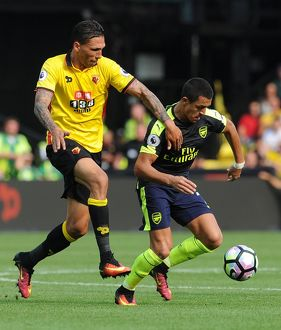 season 2016 17/watford v arsenal 2016 17/alexis sanchez arsenal jose holebas watford