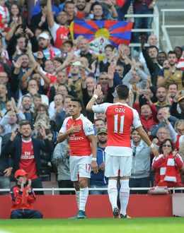 season 2015 16/arsenal v manchester united 2015 16/alexis sanchez celebrates scoring 2nd goal