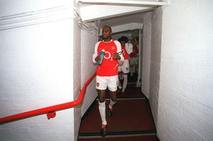 Arsenal captain Patrick Vieira leads the team out for the match