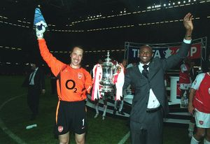Arsenal captain Patrick Vieira and vice-captain David Seaman with the FA Cup