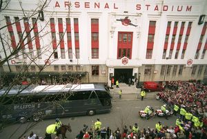 The Arsenal coach arrive outside the East Stand. Arsenal v West Bromwich Albion