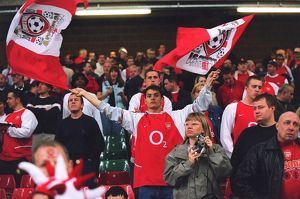 Arsenal fan with flags before the match. Arsenal 1:0 Southampton. The F