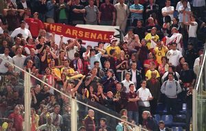 Arsenal fans celebrate at the end of the match. Villarreal 0:0 Arsenal