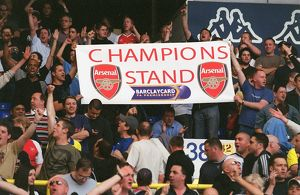 Arsenal fans with a Champions Banner. Tottenham Hotspur v Arsenal