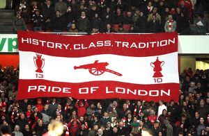 previous season matches/matches 2009 10 arsenal v chelsea 2009 10/arsenal fans hold banner match arsenal 03