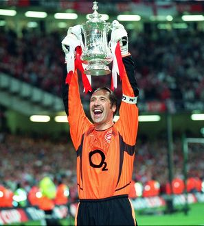 Arsenal goalkeeper David Seaman with the FA Cup after the match