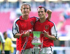 Arsenal goalscorers Ray Parlour and Fredrik Ljungberg with the F.A