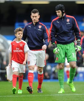 arsenal mascot with laurent koscielny and petr cech
