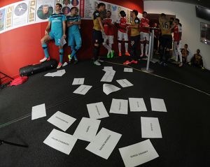 Arsenal players wait to do the Sky Sports walk up. Arsenal 1st Team Photcall