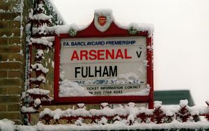 Arsenal Stadium in the snow, Highbury, London, 8/1/2003