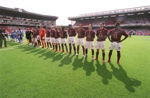The Arsenal team lines up before the match. Arsenal 4:2 Wigan Athletic