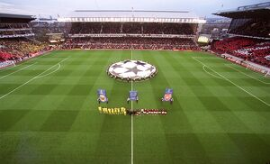 The Arsenal and Villarreal line up before the match, the last floodlit match at Highbury