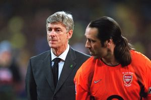 Arsene Wenger the Arsenal Manager and david Seaman before the match
