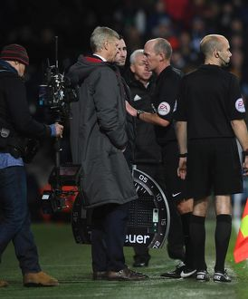 season 2017 18/west bromwich albion v arsenal 2017 18/arsene wenger arsenal manager referee mike dean