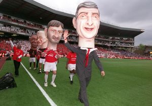 classic matches/arsenal v wigan 2005 06/arsene wenger giant head arsenal 42 wigan