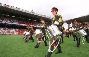 The Brass band march across the pitch. Arsenal 4:2 Wigan Athletic