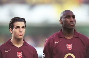 Cesc Fabrega and Sol Campbell (Arsenal) line up before the match