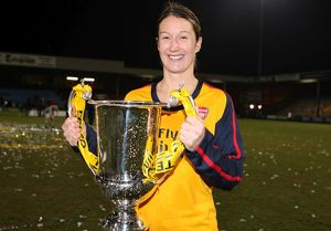 ciara grant arsenal with the league cup trophy