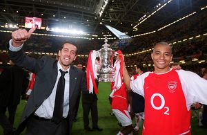 Edu and Gilberto with the FA Cup Trophy. Arsenal 1:0 Southampton. The F